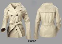 Women Fashion British Slim Belted Spring/Autumn Short  Coat  Designer Outerwear Elegant Double Breated Jacket #0527