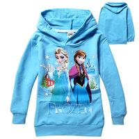 Retail New 2014 Baby girls Hoodies Frozen outerwear Children Long sleeve fashion t shirt Kids apparel Cartoon hooded sweatshirts