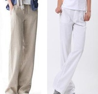 New 2014 spring-summer women Cool breathable linen fluid casual pants female loose and straight casual pants plus size 4XL