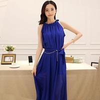 2014 Summer Solid Long Chiffon one-piece female dress