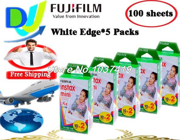 Fujifilm Instax Mini Film 5 packs (100 sheets) white Edge polaroid Instant Photo Camera mini 7S 8 25 50S 90s Film(China (Mainland))