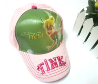 30pcs/lot Free Shipping! Fashion Casual Tinker Bell Caps Hat For Girls 100% Cotton Kids Cartoon Hats Children Cap SH00038