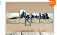 Hand Painted 5 Panel wall Art Set Night New York City Landscape Oil Painting Modern Abstract Piece Home Decoration Wall Pictures