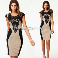 2014 New Arrival Women Elegant Embroidery Bodycon Dresses New Fashion Patchwork Autumn Casual Bandage Dress SV001620