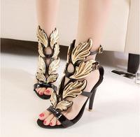 New  2014 Summer GZ women Sexy High Heel Women Sandals Pumps Campagus Gold Leaf  Gladiator  Wings Women Shoes