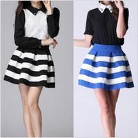 New Spring 2014 Fashion alisa Brand Black And White Stripe High Waiste Elastic Ball Gown Plus Short Skirt For Women .50