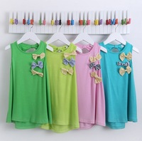 Girls Summer Dress New 2014 Children Sleeveless Dresses Fashion Girl  Dress with Bow for 2-6Y  8 colors Brand Cute Retail