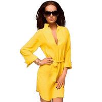 Sexy Deep V-neck Fashion Commuter Loose Casual Dress Free Shipping 2014 Spring New M,L,XL,XXL,XXXL,XXXXL 13924