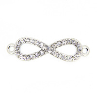 Popular Top Quality Accessory, Environment Zinc Alloy With Full CZ Rhinestone Infinity Charm For Bracelet