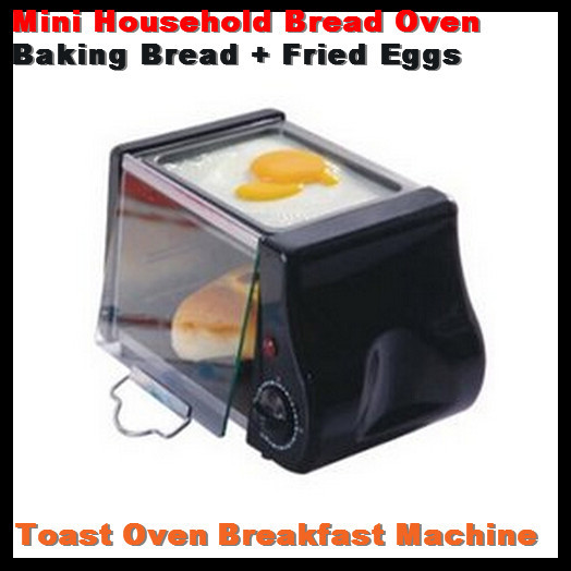 220V / 220W Black! MINI Multifunctional Household Stainless Steel Bread Oven Toaster Breakfast Machine Baking Bread+Fried Eggs(China (Mainland))