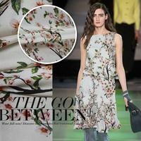 DIY Elegant Peach Flower Print Silk(94%) Elastic Satin Fabric For Spring/Summer Cloth  110CM*100CM  19Mommie