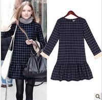 2014 New  autumn winter women's dresses thin wild plaid slim was women's long sleeved casual dress women   #C0530