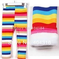 1pcs/lot new arrival 2014 girls winter fleece rainbow leggings children fahion striped warm legging kids bootcut