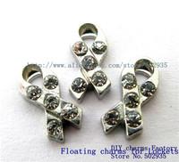 10pcs Zinc Alloy Rhinestone Ribbon Floating Charms Fit Floating charms lockets FC075