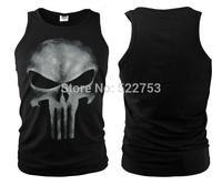 Free shipping 2014 new arrival Hot Sale punisher Running Sport   Skull Slim  Tank Tops Size S-XXL