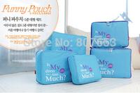 freeshipping 5pcs/Set  Funnymade Travel Luggage Packing Box Organizer Bag Nylon & Mesh Travel Pouch
