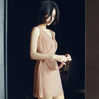 Free Shipping 2014 Fashion Women Summer New Arrival Korean Style Chiffon Elegant V-neck Sleeveless Sexy Mini Dress F82035
