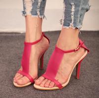 New 2014 Brand Design Brief  Women's Work White Fushia I-shaped High Heels Gladiators Sandals Shoes