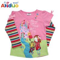 Wholesale 2014 New Desgin Baby Autumn Girls Shirts 6Pcs/lot Cotton Kids Cute Shirts Long-Slevee Shirts For Girls Pink Shirt Girl