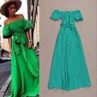2014 Fashion brand runway dress slash neck sexy off the shoulder maxi dresses long  party dress evening dress