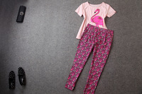 2014 brand new spring and summer women's short-sleeved T-shirt  +  pants casual suit fashion setsT1810