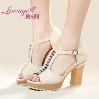 2014 fashion open toe high-heeled thick heel rhinestone women's platform sandals female