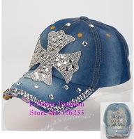 Hot Wholesale new fashion female rhinestone big Cross shaped denim jean baseball cap popular hip hop snapback hats for women