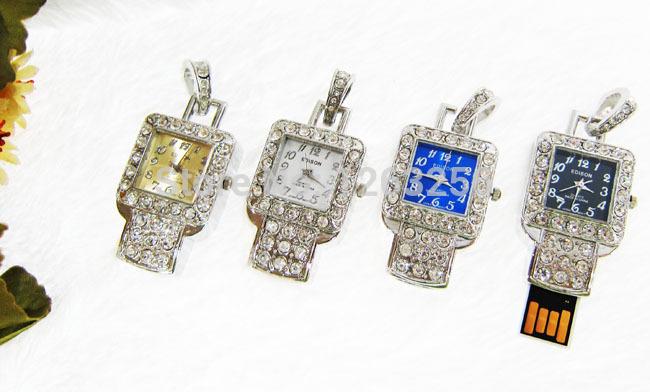 usb flash drive crystal watch necklace 8gb 16gb 32gb pen drives flash usb memory jewelry usb flash memory gift(China (Mainland))
