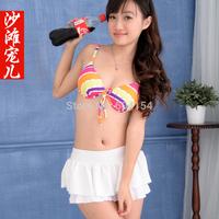 Cute skirt bikini set female small steel push up swimwear