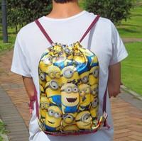 Free shipping 5pcs custom Monsters University Party Despicable Me handbags  Drawstring children 36*50cm School bag backpack 001