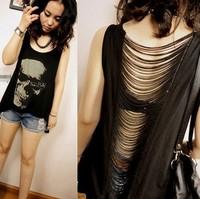2014 Summer new women T shirts Skull Punk Singlet Dress Vintage Tank Pop Sexy Top long Tee T-Shirt