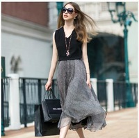 2014 spring and summer 2 in 1 sleeveless chiffon dress black and gray Zipper shoulder elegent long gauze dress