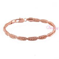 New 2014 Arrival 4mm Mens Women 18K Rose Gold Filled Chain Bracelet 8inch
