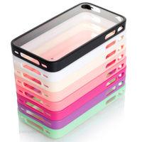 1 piece Clear Hard case TPU PC simple design COVER SKIN BUMPER FOR APPLE iPHONE 4 4s