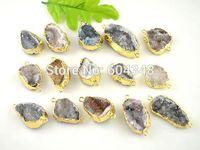 5pcs Pretty Jewelry Natural Color Chalcedony Stone Druzy Quartz Crystal Drusy Connectors Findings Pendants
