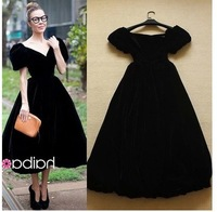 Europe   brand design  women  vintage Elegant temperament  ancient black party dress evening dress 2014