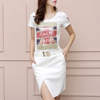 2014 new European and American fashion women summer dress casual dress split vestido informal white