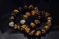 2014 Hot Sale 2PCS Lovers' Tiger Eye Charms Stretch Bracelet with 925 Sterling Silver Heart & Cross Spacer Beads Jewelry