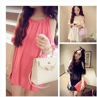 new summer 2014 Han edition temperament aristocratic wind sweet dew shoulder hubble-bubble sleeve dress