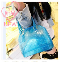 2014 new arrival jelly women's handbag candy color bags jelly bag shell bag crystal transparent bags female