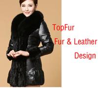 New Super large Fox fur leopard coat genuine leather down Coat women sheepskin jacket motorcycle DHL/EMS Free Shipping FP214