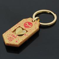 M85076 Creative Funny Gift Golden Love Wealth Heart Dog Keychain Key Chain Ring Keyring Keyfob