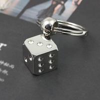 M85041  Creative Funny Gift Gambling Props Model Dice Keychain Key Chain Ring Key Fob Keyring