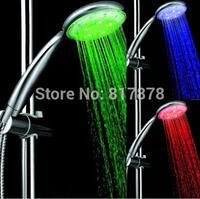LED shower head bathroom shower head Temperature Control 3 Color light Handle Shower Spray Free shipping se143