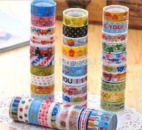50 rolls/lot Mixed Cartoon Deco Washitape Adhesive Scrapbooking Sticker Washi Masking Tape Wholesale Free Shipping