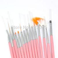 Free shipping 15pcs Professional Nail Art Brushes Set Paint Dot Draw Pen Brush Set for UV Gel DIY Decoration Tools pink