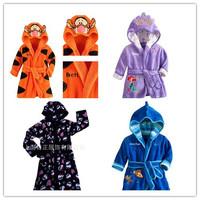 Retail 2014 Skull Pijamas Kids Robe Coral Fleece Thickening With Hoody Cartoon Monster Style Winter Unisex Children Bathrobe 020