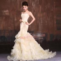Elegant Mermaid Sweetheart Beaded Organza Chapel Wedding Dress Party dress Custom-made
