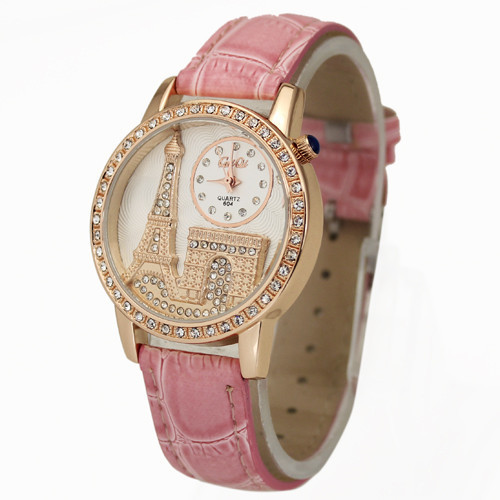 New Arrival Fancy Pink Women s Girls Ladies Eiffel Tower Stylish Jewelry Diamond Quartz Wrist Watches
