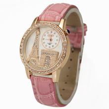 New Arrival Fancy Pink Women's Girls Ladies Eiffel Tower Stylish Jewelry Diamond Quartz Wrist Watches, Free & Drop Shipping
